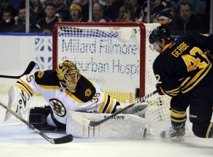 (Credit: Associated Press) Bruins' backup goalie Anton Khudobin will likely get another start against the Sabres Friday night in Buffalo